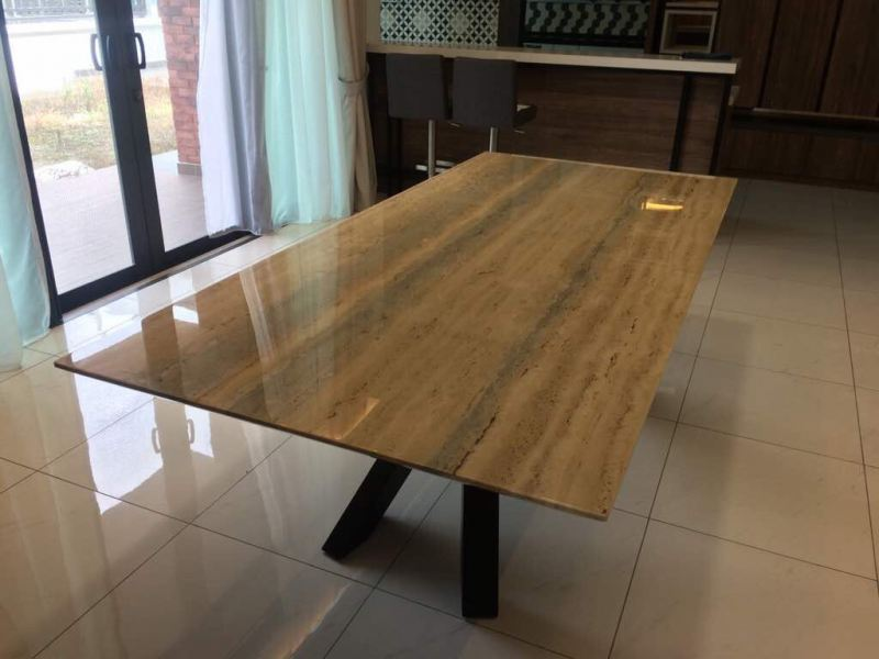 Blue Travertine Marble Marble Dining Table Selangor, Kuala Lumpur (KL), Malaysia Supplier, Suppliers, Supply, Supplies   DeCasa Marble Sdn Bhd