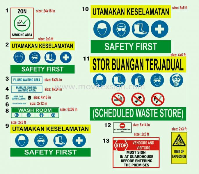 security sign ,wet floor sign ,A standing Caution sign,auto gate sign stop or Seafty First ,smoking zon sign n Etc. safety sign Industry Safety Sign and Symbols Image Johor Bahru (JB), Johor, Malaysia. Design, Supplier, Manufacturers, Suppliers | M-Movitexsign Advertising Art & Print Sdn Bhd