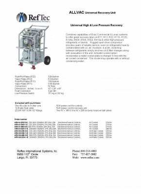 RefTec ALLVAC ARH-500 Commercial Universal Recovery Unit