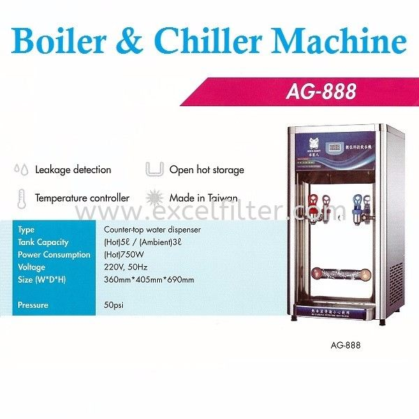 BOILER AND CHILLER-AG-888 Water Cooler/ Water Boiler/ Water Chiller Water Dispenser & Water Cooler Selangor, Malaysia, Kuala Lumpur (KL), Cheras Supplier, Suppliers, Supply, Supplies   Excel Filter Sdn Bhd