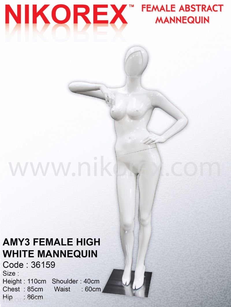 36159-AMY3 FEMALE HIGH WHITE MANNEQUIN