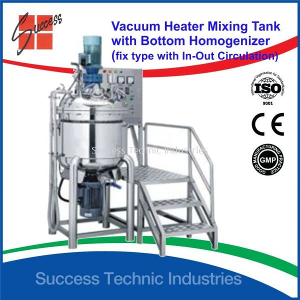 "DVH900-100 100liter VACUUM HEATER EMULSIFIER MIXER HOMOGENIZER/LOTION COSMETIC MIXER/HOMOGENIZER MIXER(FIX TY DVH900 ""Dyna Cosmo"" Fix Types Vacuum emulsifier Mixers with Oil & Water Phase Tank Seri Kembangan, Selangor, Malaysia Fabrication Supplier Supply Manufacturer 