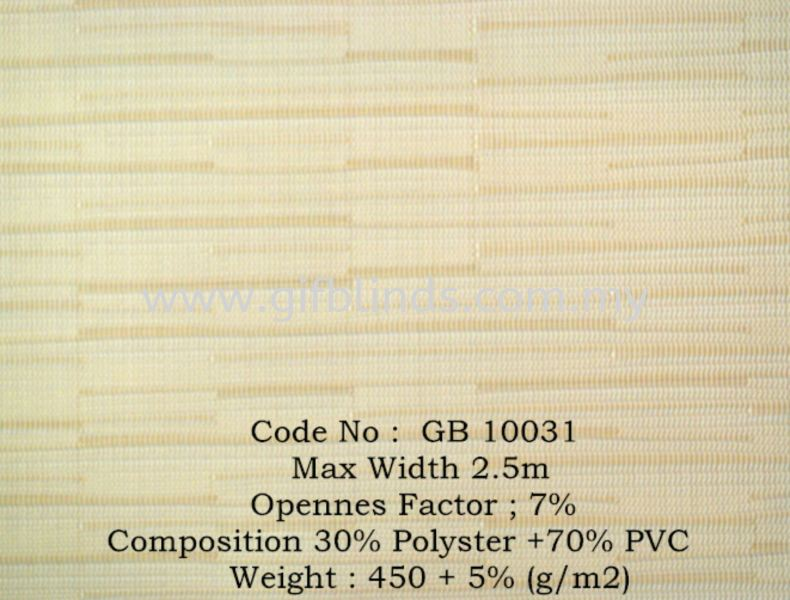 Polyster + PVC Roller Sample GB10031 Polyster + PVC Roller Sample GB10031-35 Roller Blinds Johor Bahru, JB, Johor, Malaysia. Supplier, Suppliers, Supplies, Supply | GIF Blinds (M) Sdn Bhd
