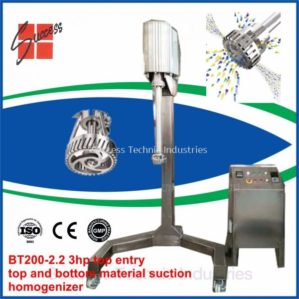 BT200-03 2.2kW 3hp cosmetic cream mixer/High Shear Mixer/Chemical Mixer BT200-BT200B Dyna-Stream 20 - 1000 Liter Top/Bottom Entry Industry Homogenizer Seri Kembangan, Selangor, Malaysia Fabrication Supplier Supply Manufacturer | Success Technic Industries