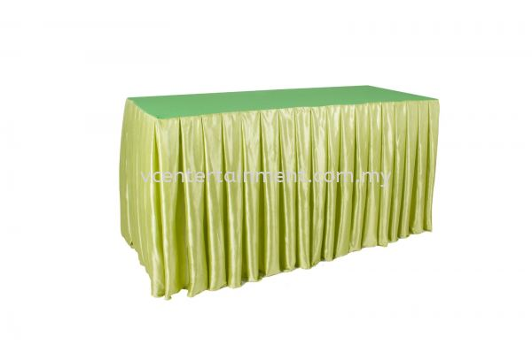 Green Normal Oblong Table Skirting 2x5 Oblong Table Skirting 2x5 Chair Cover And Table Cloth Kuala Lumpur (KL), Selangor, Malaysia. Rental   VC Entertainment Sdn Bhd
