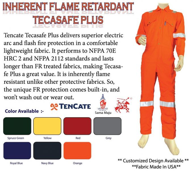 Tecasafe Plus 580 Inherent Flame Resistance Coverall 200gsm Inherent Fire Resistant Protective Clothing Kuala Lumpur, KL, Malaysia Supply Supplier Supplies | Sama Maju Marine & Industry Sdn Bhd