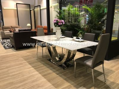 Modern Marble Dining Table - White Marble - Statuario