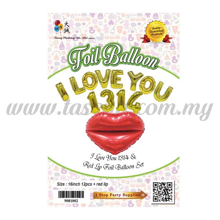 I Love You 1314 + Red Lip Foil Balloon Set (FB-2592)