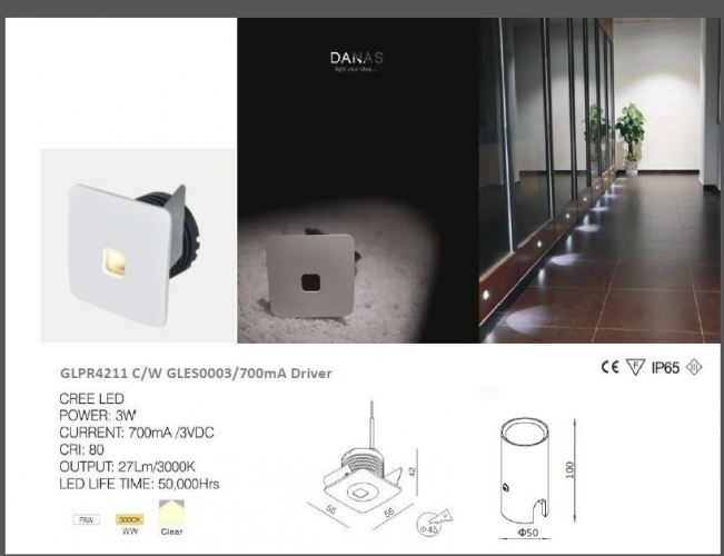DESS GLPR4211 STEPLIGHT/ RECESSED WALL LIGHT 700mA Driver INCLUDED