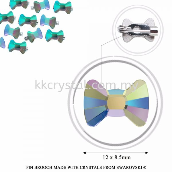 Pin Brooch Made With Crystals from Swarovski®, 2858 Bow Tie 12x8.5mm, Paradise Shine Jewelry Make With Crystals from Swarovski® Kuala Lumpur (KL), Malaysia, Selangor, Klang, Kepong Wholesaler, Supplier, Supply, Supplies | K&K Crystal Sdn Bhd