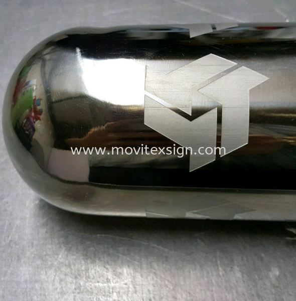 "logo marking on stainless steel pipe 4"" /Engrav with chemical (click for more detail) Laser Engraving Marking & Cut Johor Bahru (JB), Johor, Malaysia. Design, Supplier, Manufacturers, Suppliers 