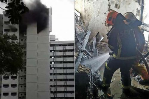 Block 248 Compassvale Road caught fire on 14 Feb, 2 taken to hospital for smoke inhalation