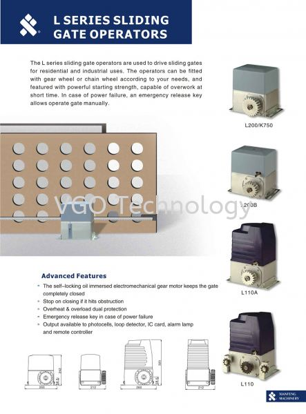 Xian Feng Machinery L Series Sliding AC Motor Sliding Gate System Autogate Penang, Butterworth, Malaysia System, Supplier, Supply, Installation | VGO Technology