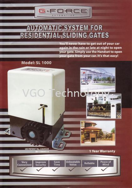 G-Force SL1000 AC Motor Sliding Gate System Autogate Penang, Butterworth, Malaysia System, Supplier, Supply, Installation | VGO Technology