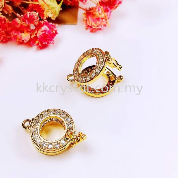 Buckle, Round, Code 0283026, Gold Plated, 2pcs/pkt Buckle  Jewelry Findings, White Gold Plating Kuala Lumpur (KL), Malaysia, Selangor, Klang, Kepong Wholesaler, Supplier, Supply, Supplies | K&K Crystal Sdn Bhd