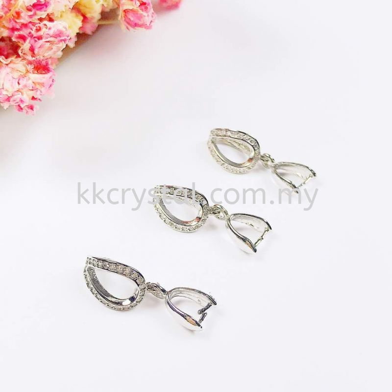 Pendant Clips, Code 0283024, White Gold Plated, 5pcs/pkt