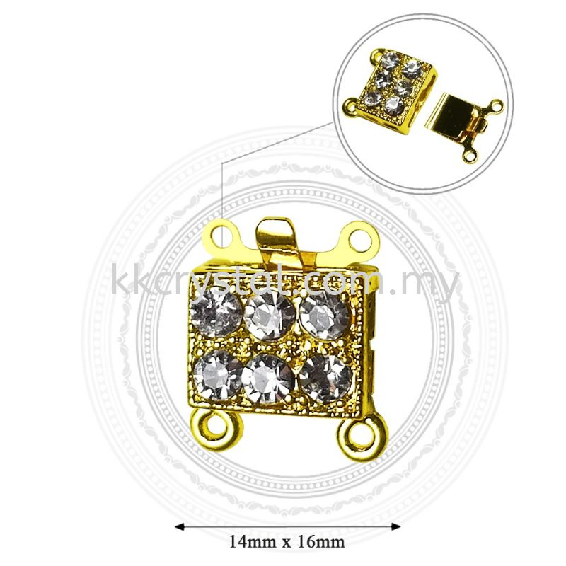 Fashion Clasp, H5625, 2Holes, Gold, 5pcs/pkt (BUY 1 GET 1 FREE)