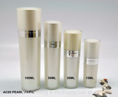 AC05 PEARL WHITE ACRYLIC BOTTLE WITH PUMP
