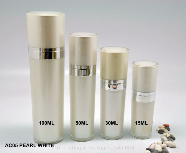 AC05 PEARL WHITE ACRYLIC BOTTLE WITH PUMP Acrylic Bottle Acrylic Bottle & Jar Penang, Malaysia, Bukit Mertajam Supplier, Services, Supply, Supplies | LNT Printing & Packaging Sdn Bhd