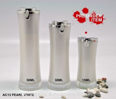 AC13 PEARL WHITE ACRYLIC BOTTLE WITH SILVER PUMP