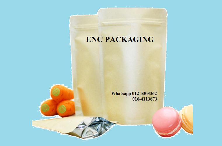 kraft paper bag (150mm x 220mm) Kraft paper foil bag Zipper pouch bag Penang (Pulau Pinang), Butterworth, Malaysia. Manufacturer, Supplier, Supply, Supplies   ENC Packaging Enterprise