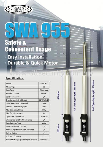 SWA 955 DoorGuard Auto Gate System Singapore, Malaysia, Johor, Selangor, Senai Manufacturer, Supplier, Supply, Supplies | AST Automation Pte Ltd