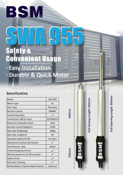 SWA 955 BSM Auto Gate System Singapore, Malaysia, Johor, Selangor, Senai Manufacturer, Supplier, Supply, Supplies | AST Automation Pte Ltd