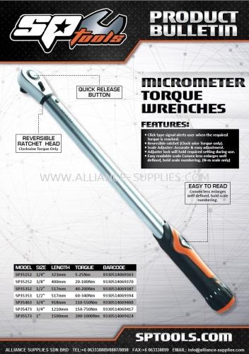 SP TOOLS (AUSTRALIA) MICROMETER TORQUE WRENCH (IMPROVED MODEL!)