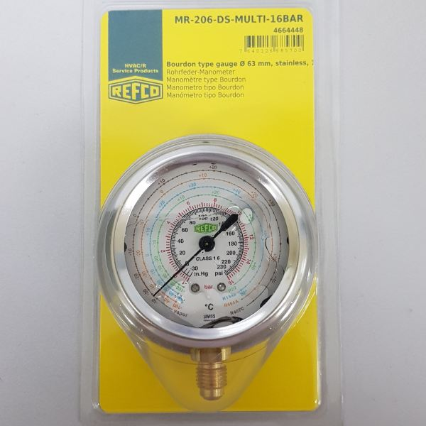 MR-206-DS-MULTI-16BAR (LOW SIDE GAUGE) - R22/134A/404A/407C  Oil Filled Gauge Refco (SWITZERLAND) Air Conditioning & Refrigeration Tools Selangor, Malaysia, Kuala Lumpur (KL), Shah Alam Supplier, Suppliers, Supply, Supplies | Iso Kimia (M) Sdn Bhd