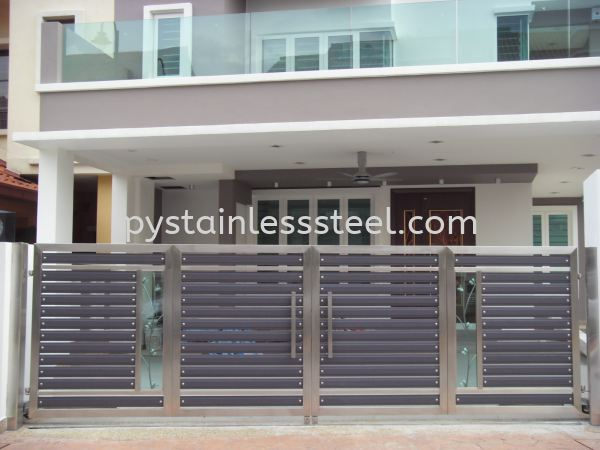 Stainless Steel Folding Gate with Aluminium Wood & Glass Stainless Steel Folding Gate with Aluminium Wood With Glass Stainless Steel Gate Selangor, Kajang, Kuala Lumpur (KL), Malaysia Contractor, Supplier, Supply | P&Y Stainless Steel Sdn Bhd