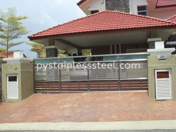 Stainless Steel Sliding Gate with Aluminium Wood & Glass Stainless Steel Sliding Gate with Aluminium Wood With Glass Stainless Steel Gate Selangor, Kajang, Kuala Lumpur (KL), Malaysia Contractor, Supplier, Supply | P&Y Stainless Steel Sdn Bhd