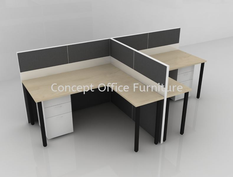Rectangular Top with Side Top come with Full Board Panel - Cluster of 2 Partition System Workstation Selangor, Malaysia, Kuala Lumpur (KL), Petaling Jaya (PJ) Supplier, Suppliers, Supply, Supplies   Concept Pluzz Sdn Bhd
