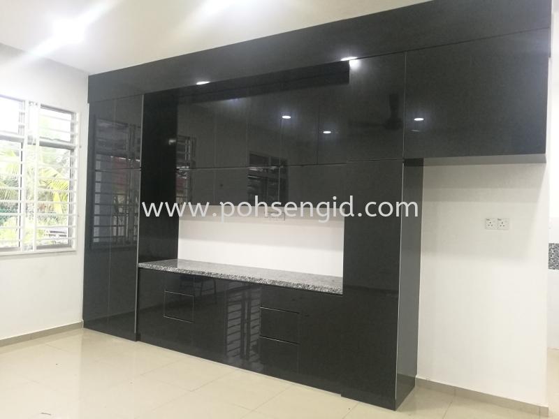 4G Glass Kitchen Cabinet #IDAMAN VILLA SENDAYAN Kitchen Seremban, Negeri Sembilan (NS), Malaysia Renovation, Service, Interior Design, Supplier, Supply | Poh Seng Furniture & Interior Design