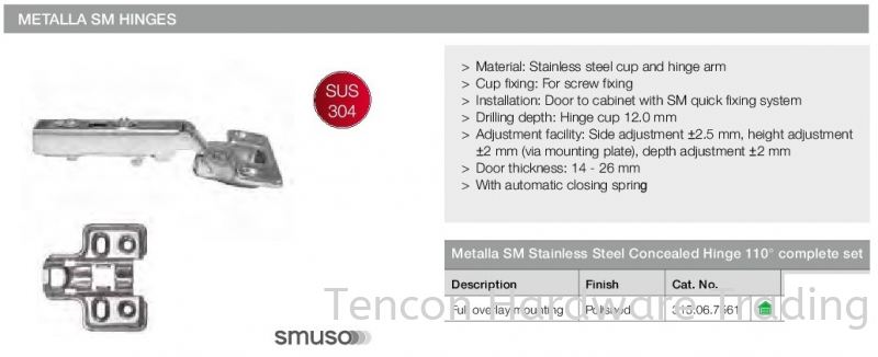 Mettala SM Stainless Steel Concealed Hinge 110бу Mettala SM Concealed Hinges Flap Fitting and Hinges Hafele Kitchen Solution Penang, Malaysia, Butterworth Supplier, Suppliers, Supply, Supplies | Tencon Hardware Trading