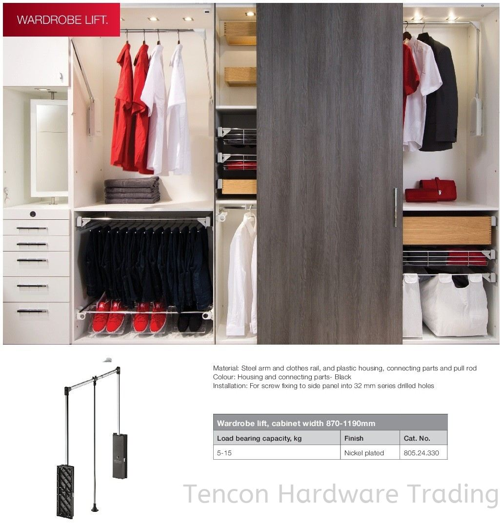 Wardrobe Lift, Cabinet Width 870-1190mm Wardrobe Lift Wardrobe Hafele Wardrobe Penang, Malaysia, Butterworth Supplier, Suppliers, Supply, Supplies | Tencon Hardware Trading