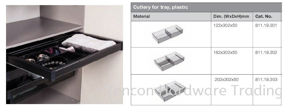 Cutlery for Tray, Plastic Pull Out Storage System Premio Wardrobe Fitting Hafele Wardrobe Penang, Malaysia, Butterworth Supplier, Suppliers, Supply, Supplies | Tencon Hardware Trading