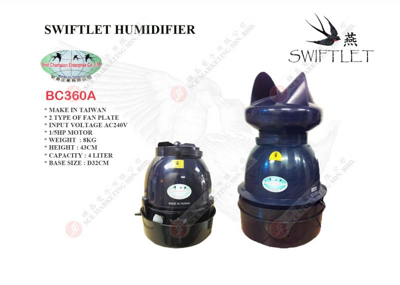 SWIFTLET HUMIDIFIER BC-360 HUMIFIER & ACC SWALLOW PRODUCT Johor Bahru, JB, Johor. Supplier, Suppliers, Supplies, Supply | SCE Marketing Sdn Bhd