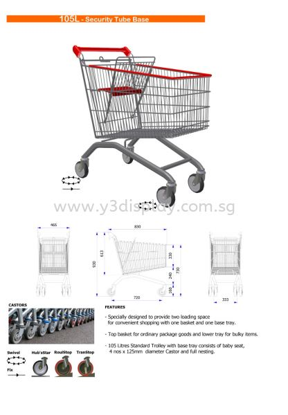 16096-105 Liter Shopping Trolley Shopping Trolley Singapore Supplier, Distributor, Supply, Supplies | Y3 Display and Storage Pte Ltd