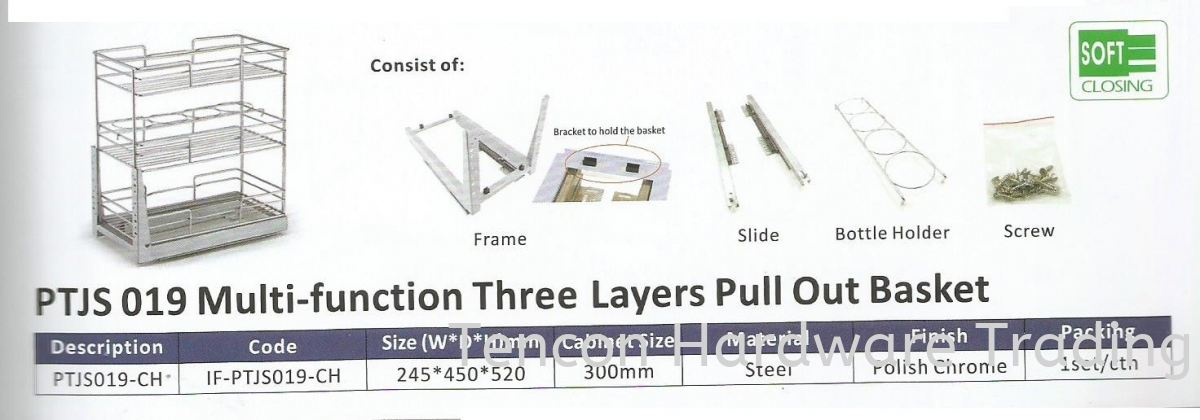 Multi Function three Layers Pull Out basket Pull Out Basket eTen Furniture Hardware Penang, Malaysia, Butterworth Supplier, Suppliers, Supply, Supplies | Tencon Hardware Trading