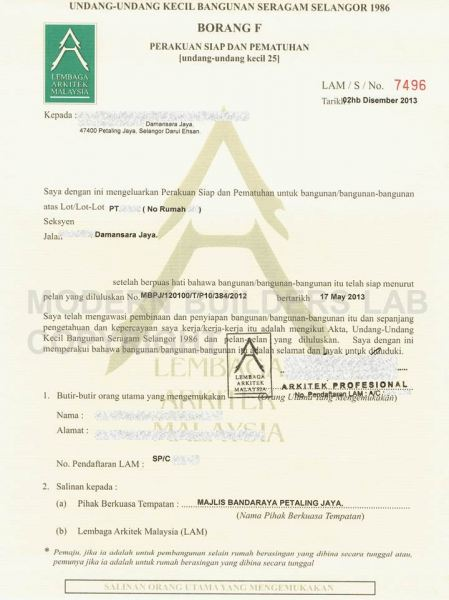 CCC MPSJ damansara jaya CCC Certificate of Completion and Compliance Kuala Lumpur (KL), Cheras, Selangor, Malaysia Service, Design, Renovation | Modern Builders Lab