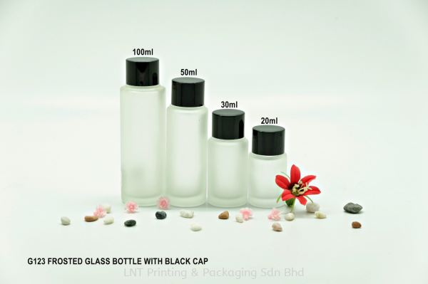 G123 FROSTED GLASS BOTTLE BLACK CAP Glass Bottle Glass Bottle & Jar Penang, Malaysia, Bukit Mertajam Supplier, Services, Supply, Supplies | LNT Printing & Packaging Sdn Bhd