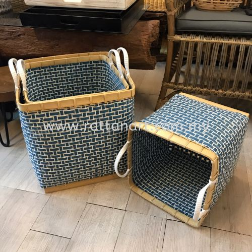 RATTAN STORAGE / LAUNDRY BASKET BLUE