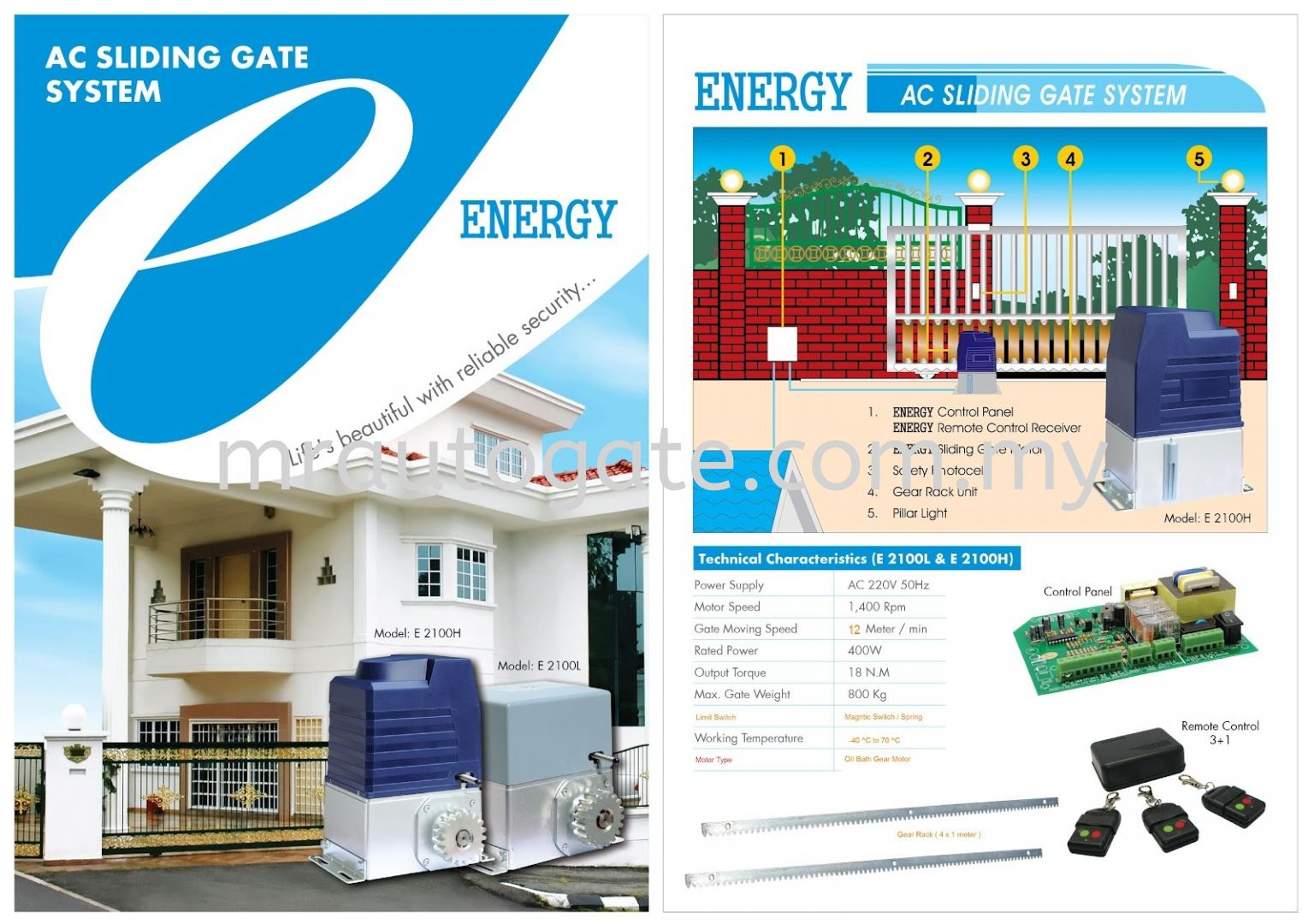 E8 E2100 Heavy Duty AC Sliding Auto Gate