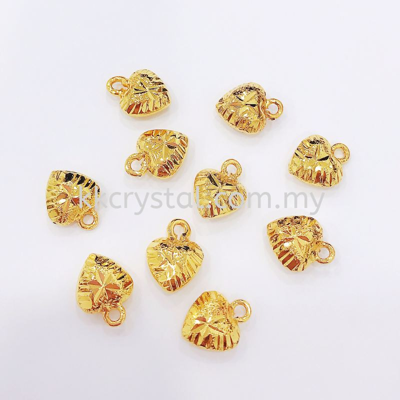 Charm, Faceted Love, 8mm, 0283045, White Gold Plated, Gold Plating, 10pcs/pack