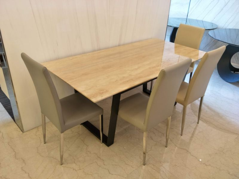 Beige Marble - Blue Travertine  Marble Dining Table Selangor, Kuala Lumpur (KL), Malaysia Supplier, Suppliers, Supply, Supplies   DeCasa Marble Sdn Bhd