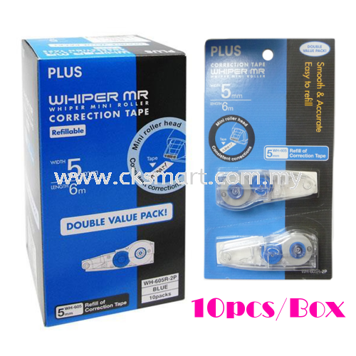 PLUS CORRECTION TAPE REFILL 2 IN 1 5MM X 6M WH-605R-2P Correction Liquid, Tapes, Eraser Johor Bahru (JB), Malaysia, Skudai Supplier, Suppliers, Supply, Supplies | CK Smart Trading