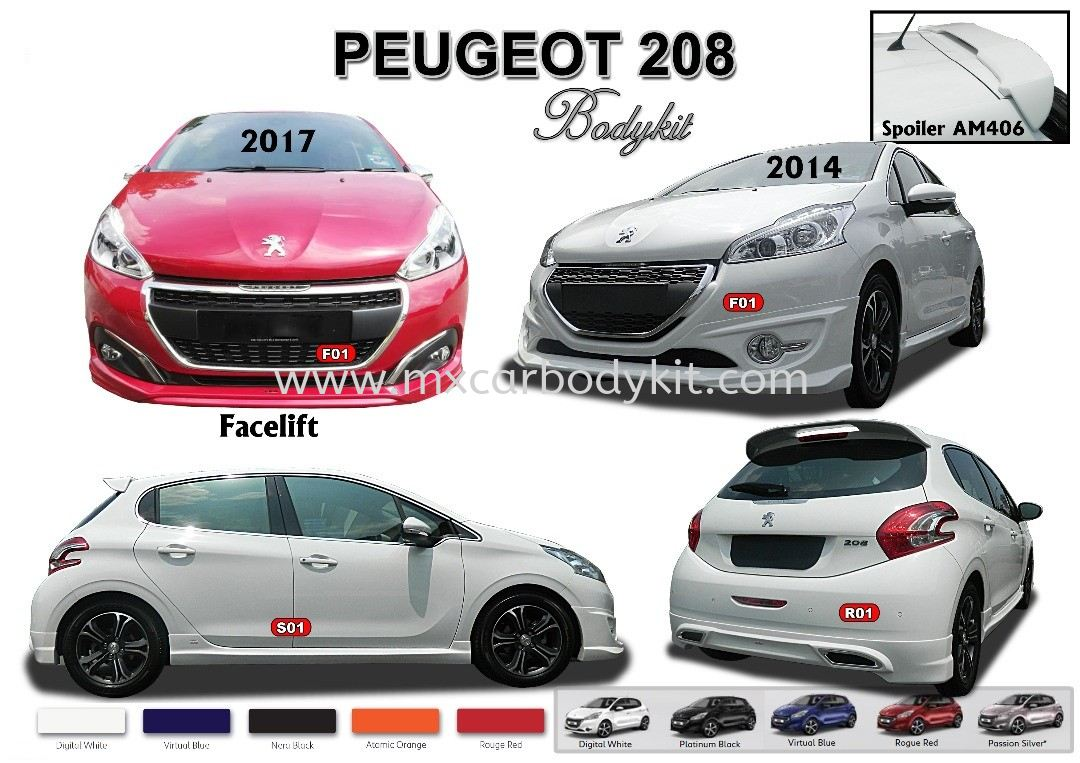 PEUGEOT 208 AM STYLE 2017 BODYKIT WITH SPOILER  208 PEUGEOUT Johor, Malaysia, Johor Bahru (JB), Masai. Supplier, Suppliers, Supply, Supplies | MX Car Body Kit