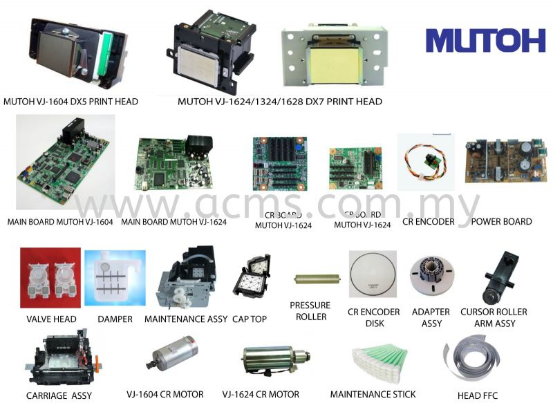 MUTOH INKJET PRINTER SPARE PARTS PRINTING MACHINE SPARE PARTS AND ACCESORIES Selangor, Malaysia, Kuala Lumpur (KL), Sungai Buloh Supplier, Suppliers, Supply, Supplies | AC Marketing Solution Sdn Bhd