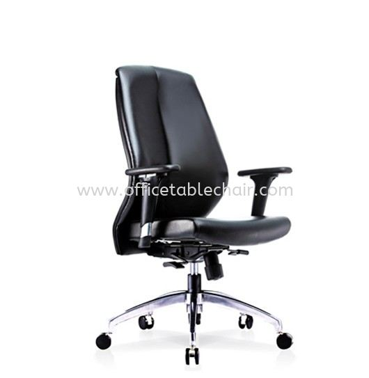 SENSE 2 EXECUTIVE MEDIUM BACK LEATHER CHAIR WITH ALUMINIUM ROCKET DIE-CAST BASE MB