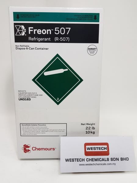 Chemours Freon 507  Freon  Refrigerant Chemours Malaysia, Selangor, Kuala Lumpur (KL), Shah Alam Supplier, Suppliers, Supply, Supplies | WESTECH CHEMICALS SDN BHD